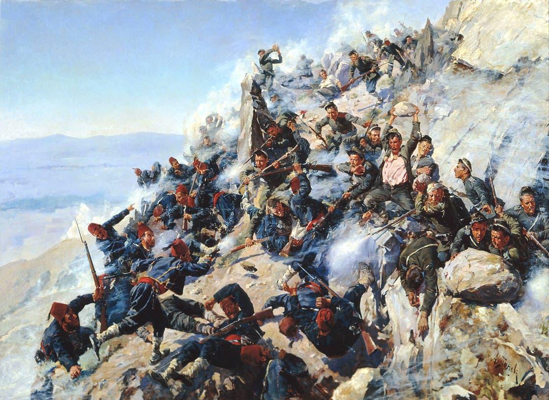 Die Schlacht am bulgarischen Schipkapass während des Russisch-Osmanischen Krieges, 1877. – Gemälde von Alexei Popow. Military-Historical Museum of Artillery, Engineer and Signal Corps
