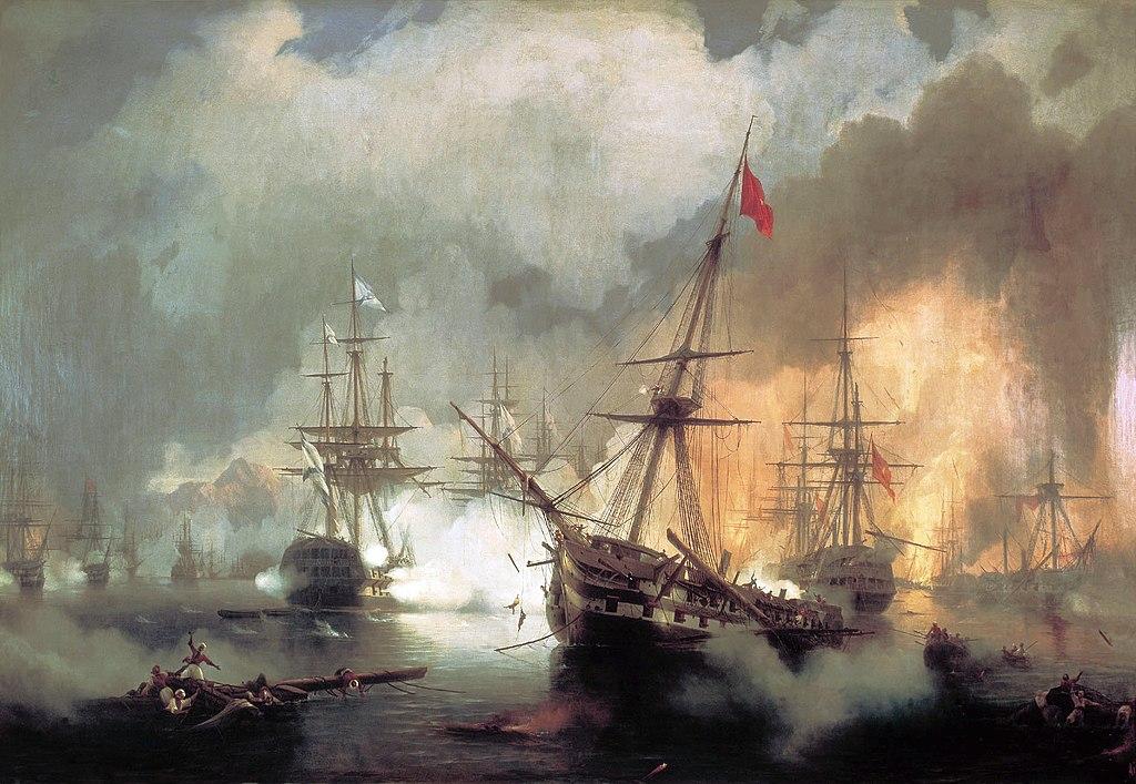 Die Schlacht von Navarino aus russischer Sicht. (Gemälde von Iwan Aiwasowski)
